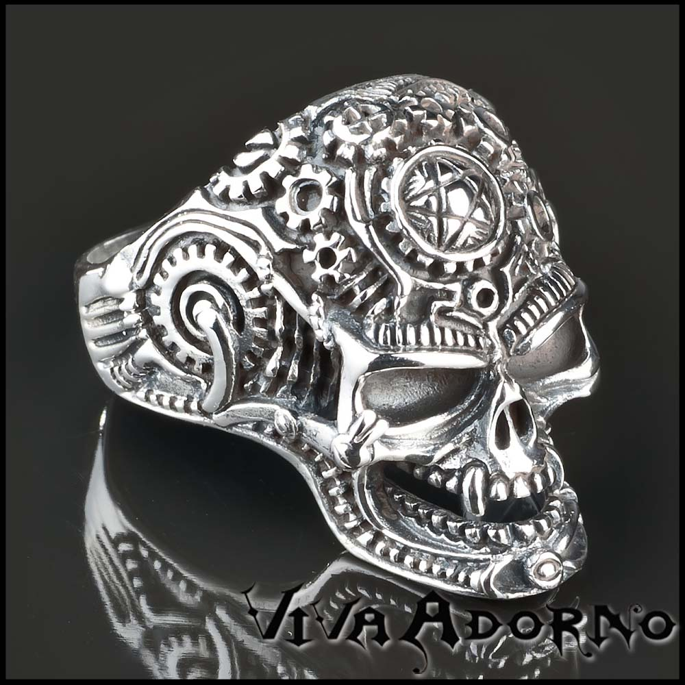 silber ring 925 totenkopf skull tattoo blumen biker sr15. Black Bedroom Furniture Sets. Home Design Ideas